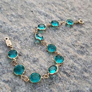 Swarovski Caribbean Blue BezelSet Crystal Bracelet